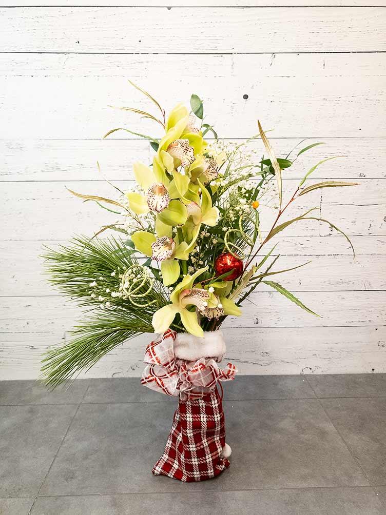 Bouquet Orchidée de Noël jaune - Fleuriste Coin Vert | Montréal