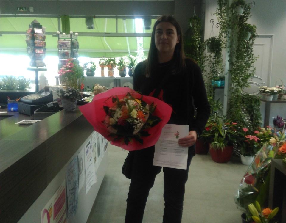 Anne-Marie, gagnante du jeu Youpi Fleurs, tirage spécial rentrée du 14 septembre 2016