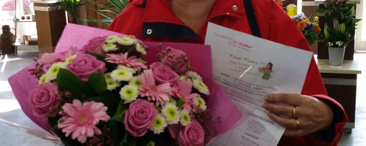 Maria, gagnante du jeu youpi fleurs, tirage du mercredi 19 octobre 2016