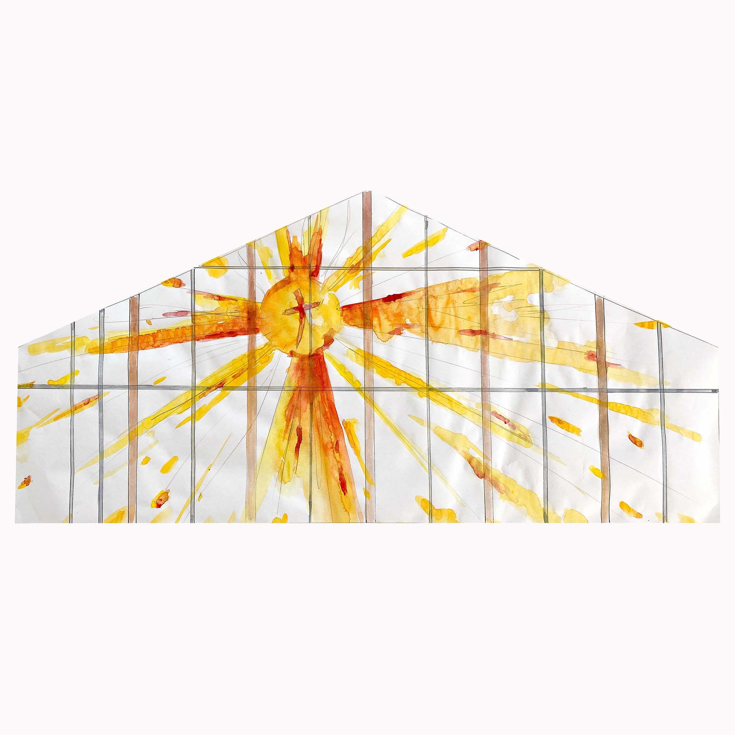 fleur nabert projet vitrail chapelle des oblats strasbourg esquisse aquarelle