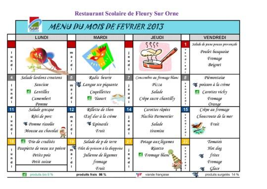 menu du mois fevrier 2013