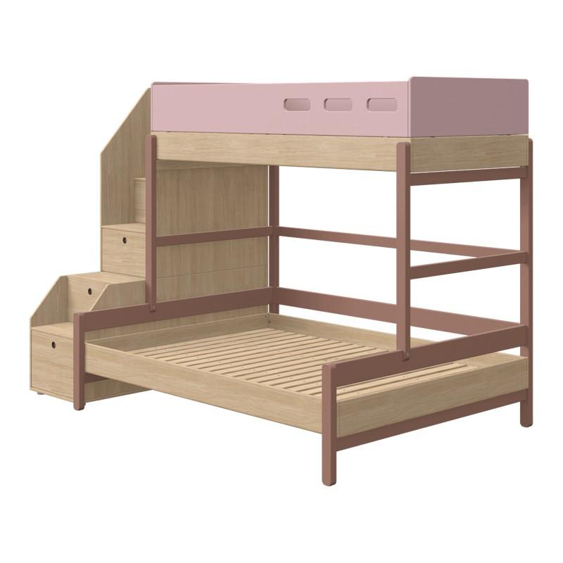 lits superposes avec lit 140 cm et escalier rangements popsicle