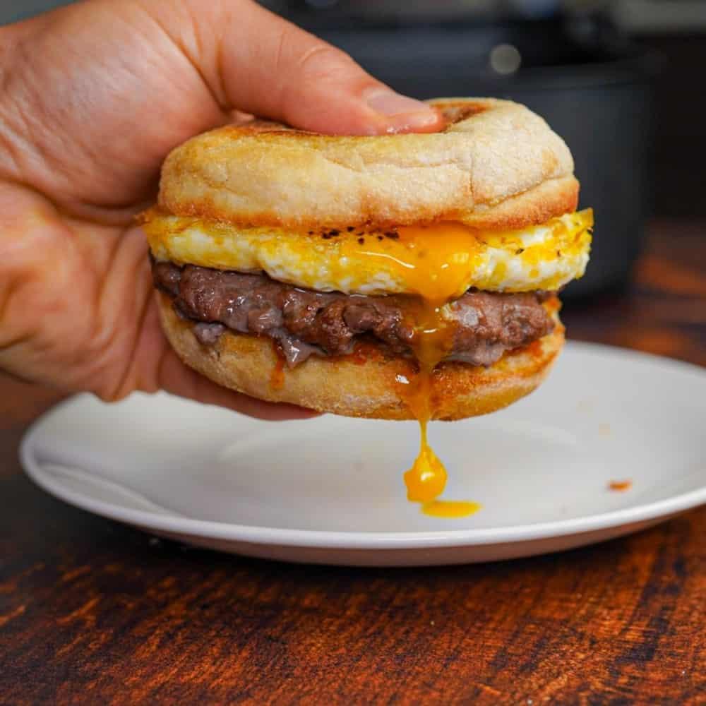 Air Fryer Breakfast Burger