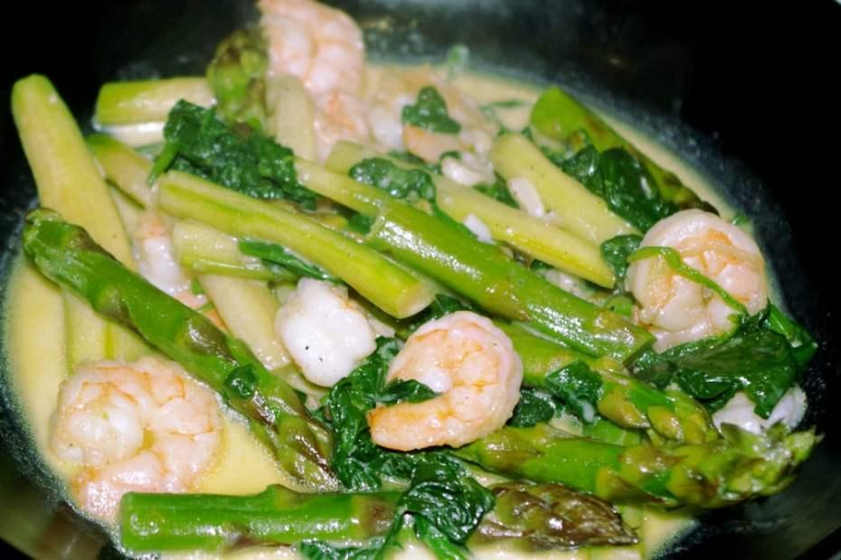 Recette rapide et facile : crevettes aux asperges