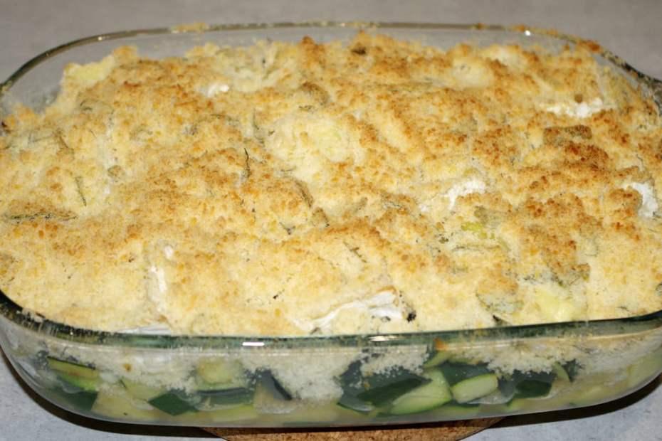 Recette du crumble de courgettes au camembert