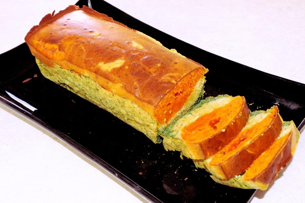 Recette du cake tricolore tomates, olives et épinards
