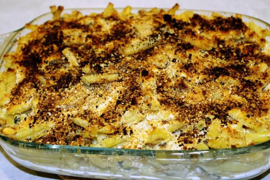 Recette de gratin de macaronis aux champignons