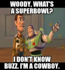 woody, what's a superbowl. I don't know buzz. I'm a cowboy