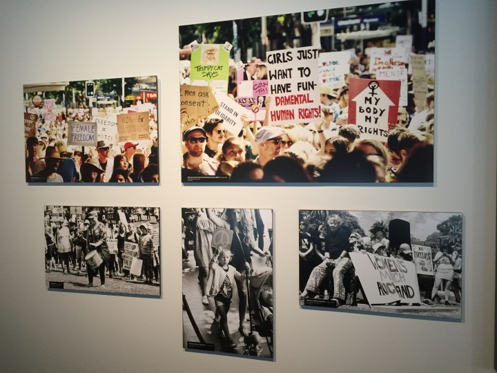 Images from the Women and Equality in Aotearoa exhibit at Auckland Museum of the Women's March in Auckland 2017