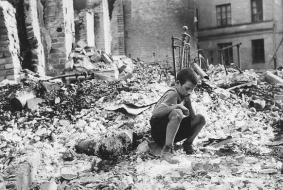Polish boy in the ruins of Warsaw September 1939