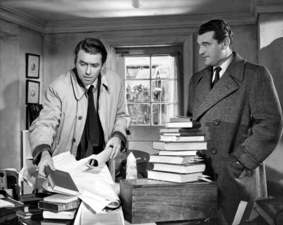 1951:  James Stewart (1908 - 1997) stars with Jack Hawkins (1910 - 1973) in the film 'No Highway', adapted from the Nevil Shute novel. Released in the US as 'No Highway In The Sky', the film was directed by Henry Koster for 20th Century Fox.  (Photo by Hulton Archive/Getty Images)