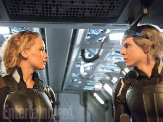 Mystique (Jennifer Lawrence) and Quicksilver (Evan Peters)