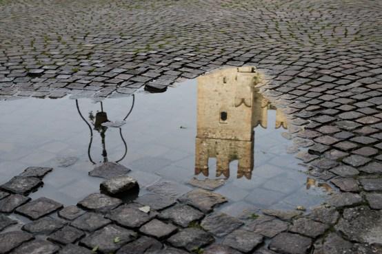 Sirmione Italy Castle reflection rain
