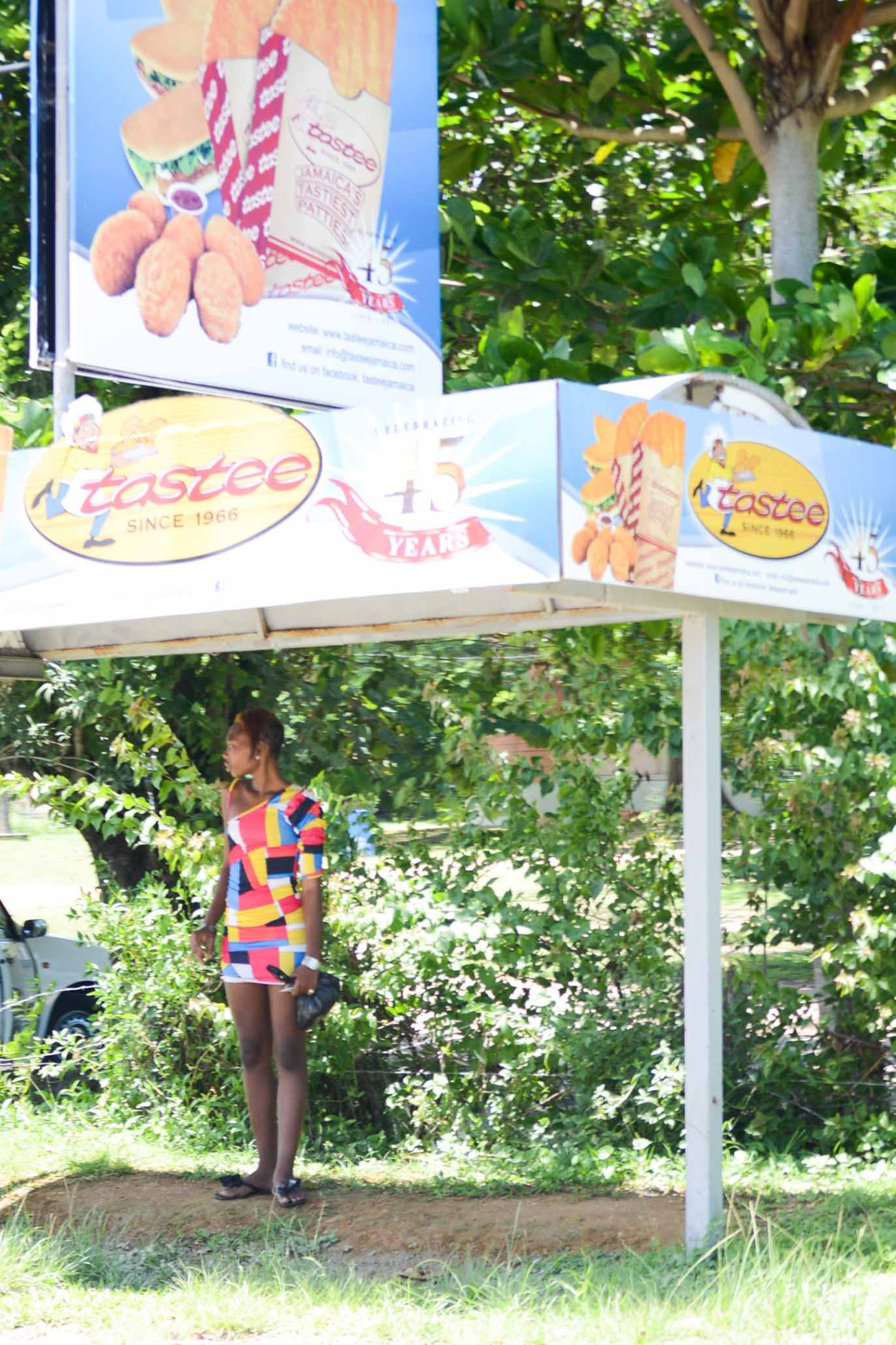 Negril Jamaica Woman Bus stop