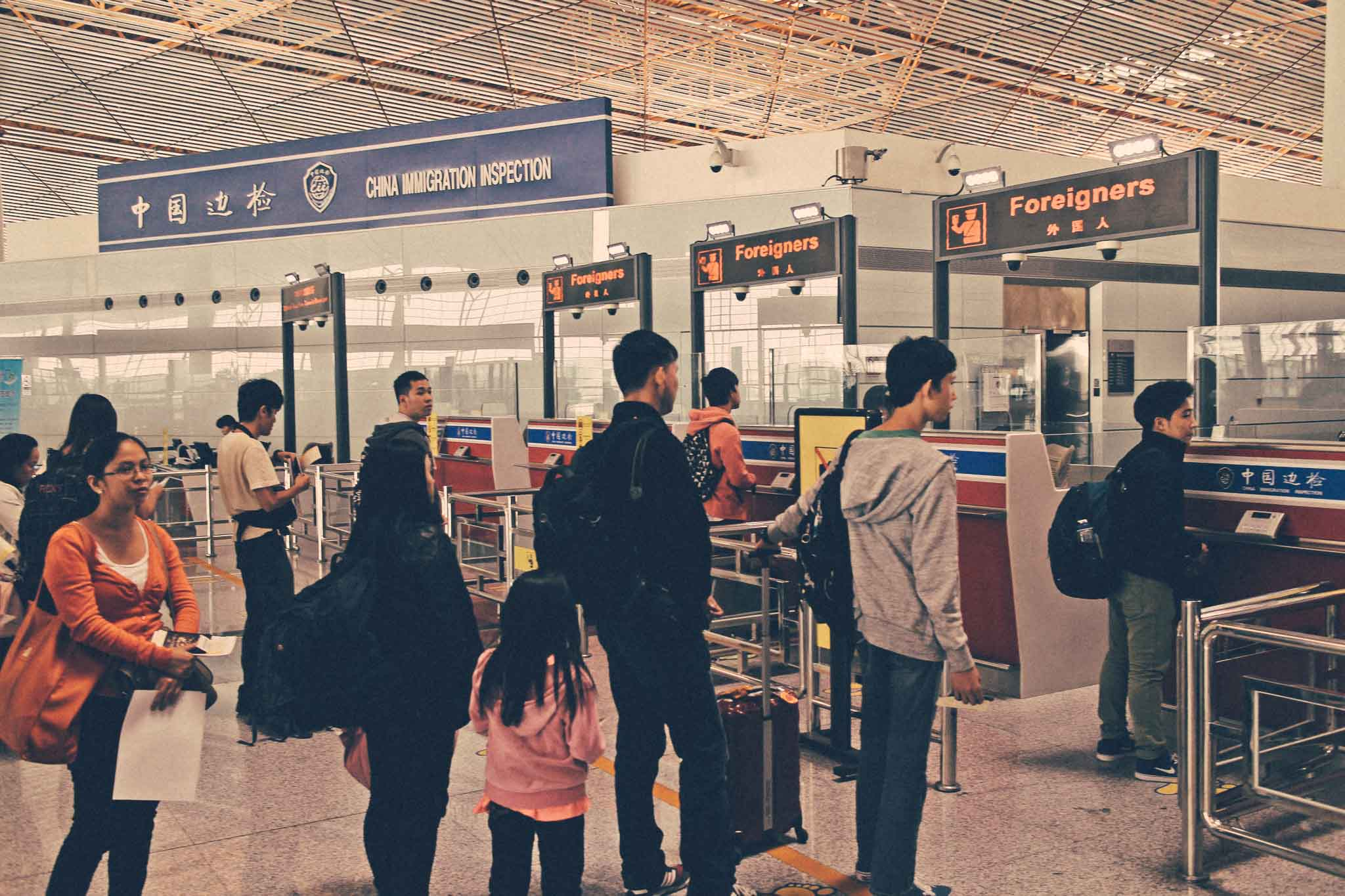 Foreigners Line Beijing International Airport