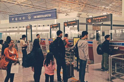 Foreigners Line Beijing International Airport