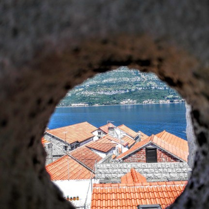 Korkula - Looking through a peephole from Marco Polo's Roof