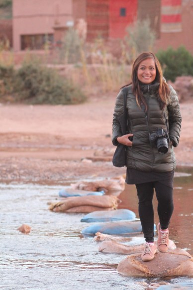 Celeste crossing the river