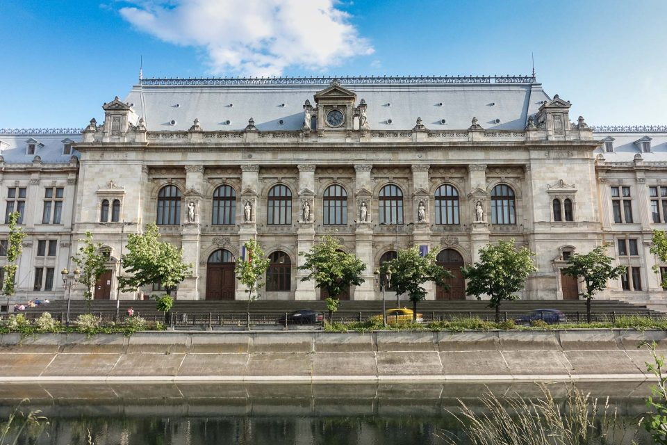 The Palace of Justice as viewed from across the  Dâmbovița River. Bucharest Architecture