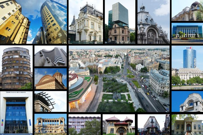 Architecture in Bucharest Collage a city of contrast
