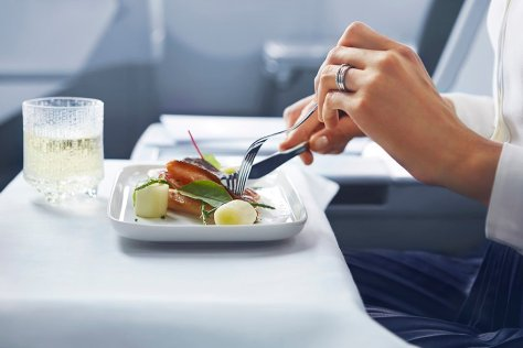 A simple elegant meal onboard in Finnair's business class.  Image Finnair.