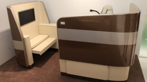 IACOBBUCCI's Business Class Suite, with Electrically Elevated Privacy Screen in Up position, Image © Flight Chic, 2014