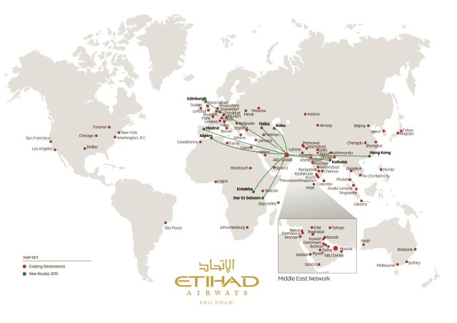 Etihad New Route Map 2015