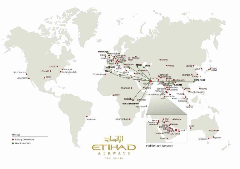 Etihad New Route Map 2015