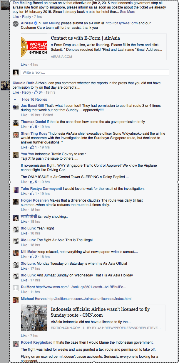 Comments on AirAsia's Facebook Page about question of permit tough fly and subsequent cancellation of flights./AirAsia