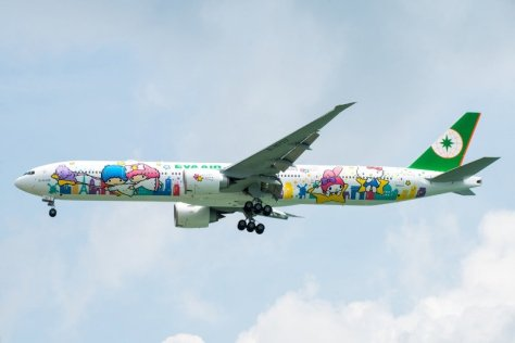 EVA Air launched nonstop Houston-Taipei flights with its brand-new Hello Kitty Shining Star Jet, a specially painted Boeing 777-300ER. (PRNewsFoto/EVA Air)