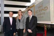 (left to right) Gianni Tronza, Etihad Airways GM Switzerland; Nadja Schildknecht, co-founder and managing Director of the Zurich Film Festival; Peter Baumgartner, Etihad Airways Chief Commercial Officer.