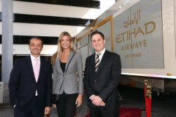 (left to right) Gianni Tronza, Etihad Airways GM Switzerland; Nadja Schildknecht, co-founder and managing Director of the Zurich Film Festival; Peter Baumgartner, Etihad Airways Chief Commercial Officer.