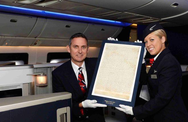 Magna Carta Flies First Class to New York on British Airways as part of world tour.