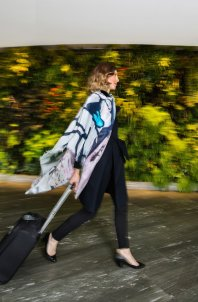 Qantas' new Melbourne-inspired Bird&Knoll scarf is the product of partnership with official Trend Consultant, model Jessica Hart