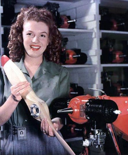 Monroe photographed by David Conniver while she was still working at the Radiophone factory in late 1944, U.S. army - June 26, 1945 YANK magazine photo (colorised version) of Marilyn Monroe as Norma Jeane Dougherty/Wikimedia Commons
