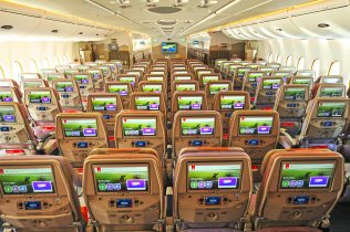 New Wider Screens on Emirates 2-Class A380 Economy Cabin, Source: Emirates
