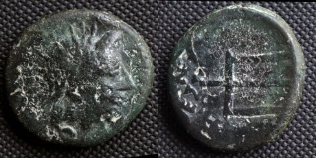 O: head of river-god Strymon R: trident This coin was struck by Serdi tribe in 187-168 BC or later as their own currency. Johny Sysel, Commons
