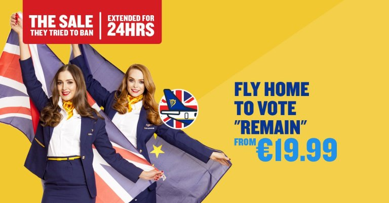 "Fly Home to Vote ""Remain"" promotion. Source: Ryanair, Facebook"