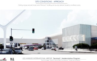 LAX Terminal 1 Modernization Exterior Rendering, Southwest Airlines.