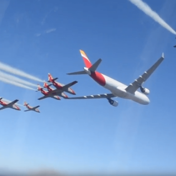 Iberia Airlines celebrates 90th anniversary with aerial display.