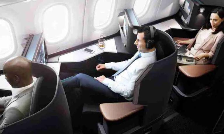 WestJet Dreamliner Business Class cabin rendering.