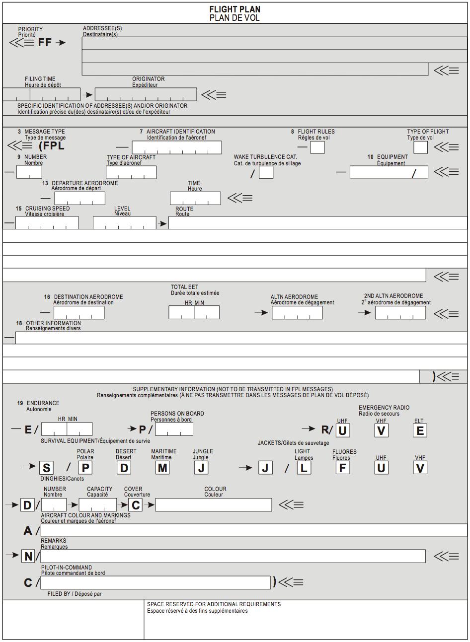 ICAO Model Flight Plan Form - Flight Crew Guide