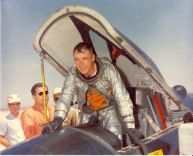 "Maj. Robert M. ""Bob"" White in the cockpit of an X-15 rocket plane at Edwards Air Force Base, Calif. He became the first pilot to exceed Mach 4, 5 and 6 in the X-15 in 1961. (Air Force courtesy photo via edwards.af.mil)"