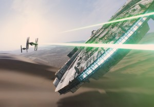 The Millennium Falcon takes on TIE fighters in the new trailer for Star Wars: The Force Awakens. (Courtesy of Disney/Lucasfilm)