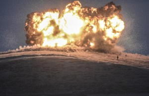 An explosion following a coalition airstrike in October near Syria's border with Turkey.  (Bulent Kilic/AFP/Getty Images)