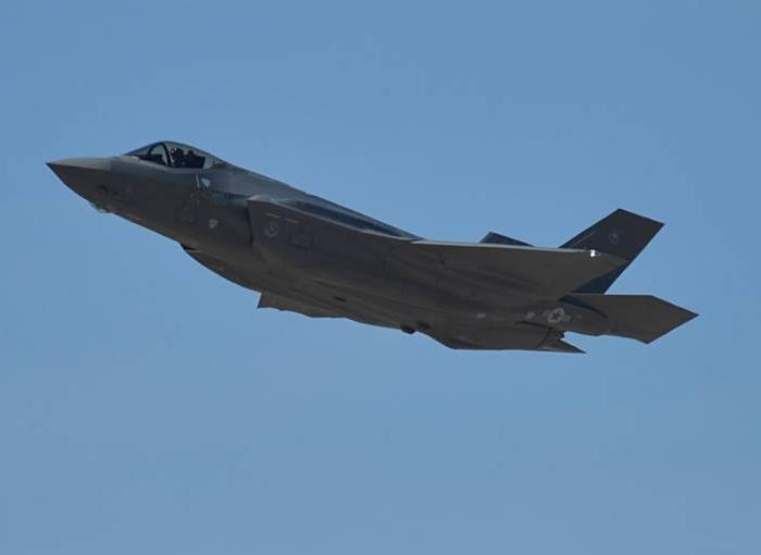 An F-35 flies over Luke Air Force Base, Arizona, on the 1,000th sortie for the base. (Senior Airman Devante Williams/Air Force)
