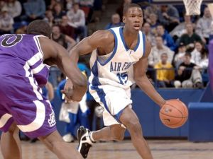 Former Air Force Academy Falcon Antoine Hood, seen here playing against Texas Christian University on Jan. 14, 2006, will be one of 10 airmen playing for a $1 million prize in ESPN's The Basketball Tournament. (David Armer / Air Force)