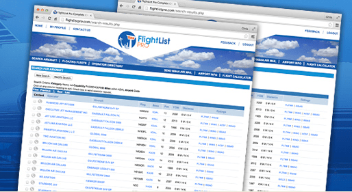 FlightList PRO Air Charter Search Results