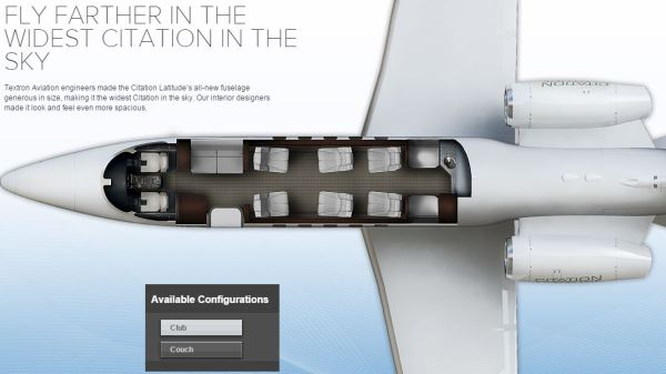 Citation Latitude cabin configuration