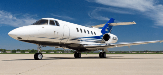 Hawker 800XP for charter based in Chicago, IL, operated by DuPage Aerospace.